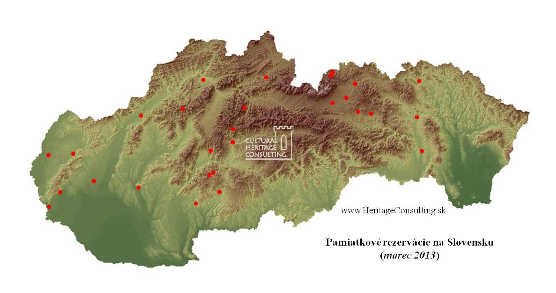 Pamiatkové rezervácie na Slovensku - mapa